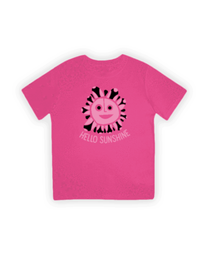 hello sunshine hot pink organic kids t-shirt