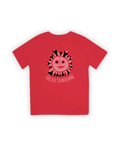 hello sunshine red organic kids t-shirt