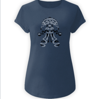 jellyfish stonewashed denim-organic yoga t-shirt