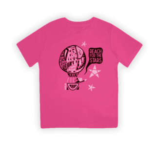 reach for the stars hot pink organic kids t-shirt