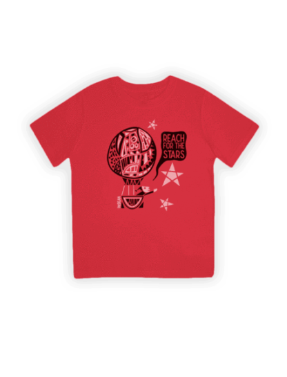 reach for the stars red organic kids t-shirt